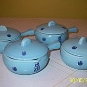 "SALE Cronin China ""Tulip"" Individual Casseroles & b40"