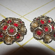 Red Stone and Faux pearl Clip-on Earrings - Free Shipping