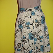Blue Roses Button Front Skirt