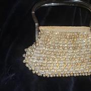 Lucite Handle Crocheted Beaded Handbag - b23