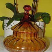 Lantern shaped Amber Glass Covered Dish - b23