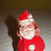 SOLD Celluloid Santa on Glass Christmas Tree Ornament