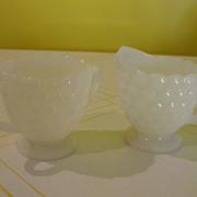 Bubble Milk Glass Creamer and Sugar Bowl - b24