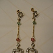 SALE Piece of My Heart Pink and Green Tourmaline 10K Yellow Gold Pieced Ear Earrings ...