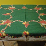 Pears and Apples Green Tablecloth