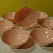 Poodle Pink Mid-century ''Lucent'' Raymond Loewy Melmac/melamine Bowls