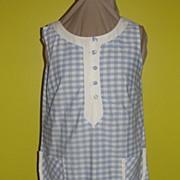 Checked Blue and White 60's Skimmer Dress/shift