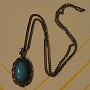 Elegantly Framed Stone and Russian silver Pendant on Chain - Free shipping