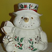 ''Formal'' Gold Trimmed snowman Cookie Jar