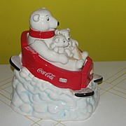 SOLD Coke Bear with Babies on Sled Cookie Jar