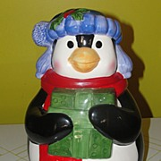 Better to Give Penguin with Present cookie jar
