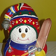 Hit the Slopes Skiing Snowman Cookie Jar