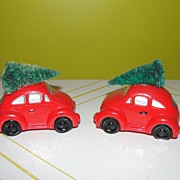 SOLD Dept 56 Snow Village Red Volkswagen with Christmas tree #56-5055