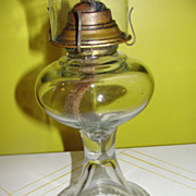 SOLD Ribbed Around the Bottom Kerosene Hurricane Lamp - b42 - Red Tag Sale Item