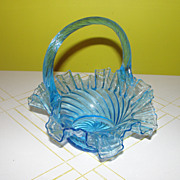 Ruffled Edge Blue Glass Basket - b45