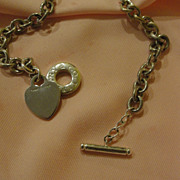 Tiffany & Co. Silver Heart Charm toggle Necklace - Free shipping