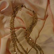 Golden Champagne 3-strand Aurora Borealis Necklace - Free shipping