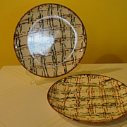 Blue Ridge Barley Plaid Dinner plates - b44