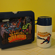 Marvel Super Heroes Lunch box with Thermos - b40