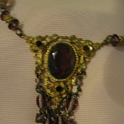 Art Nouveau Purple Dangle Necklace - Free shipping