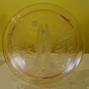 Jeannette Glass Pink Sunflower Cake Plate - b36 - b45