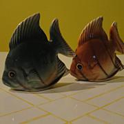 Green Fish Brown Fish Salt and Pepper Shakers - b48