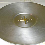 Mirro Medallion Mid-century Spun Aluminum Atomic Sunburst 14'' Tray