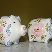 Pink Posy Painted Pigs Salt and Pepper Shakers