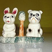 Pooch and Pup On Tray Salt and Pepper Shakers