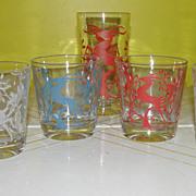 More Graceful Gazelles Federal Glass Co. On the Rocks Glasses - b53