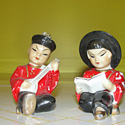Sitting Asian Couple Salt and Pepper Shakers