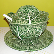 Bordallo Pinhiero Green Cabbage Tureen, Lid, Ladle and Liner