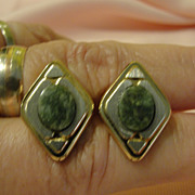 SOLD Green stone Two Tone Metal Cuff Links Free shipping
