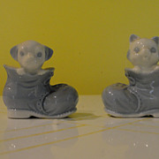 Pup and Kitten in shoes salt and Pepper Shakers