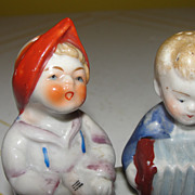 Girl and Boy with Squeezebox Salt and Pepper Shakers