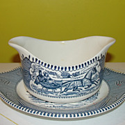 Royal China Currier and Ives Gravy Bowl and Liner