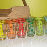 Numbered 1-8 hi-ball Glasses in Box