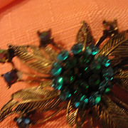 Blue and Green Rhinestone Pin - Free shipping