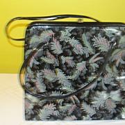 Ferns on Black Patent Handbag/purse