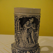 Loving Couple ''Alt Grenzau 1894'' Cobalt Salt Glaze Open Beer Stein