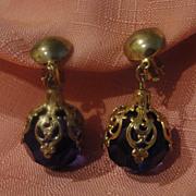 Big Blue/purple Balls Drop Clip-on Earrings - Free shipping