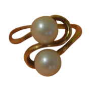 SALE Golden Ribbon Pearl in 18K Yellow Gold Ring - Free shipping