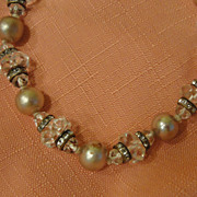 Crystal Clear and Faux Pearl Necklace - free shipping