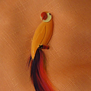 Colorful Tail Feather Parrot pin - Free shipping