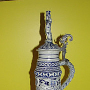 Thewalt ''Senators Cup'' Salt Glazed Cobalt Stein with Lid