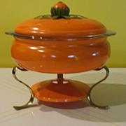 Flower Power Orange Enamel Chaffing Dish with Pyrex casserole