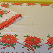 Poinsettia Tied with red ribbon Tablecloth
