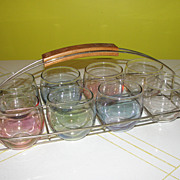Mid Century Rainbow Roly-poly Glasses in Carrier Caddy
