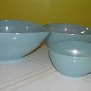 Fire-King Swedish Modern Tear Drop Blue Azurite Bowls