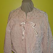 Powder Puff Pink Crushed Velvet Bed Jacket